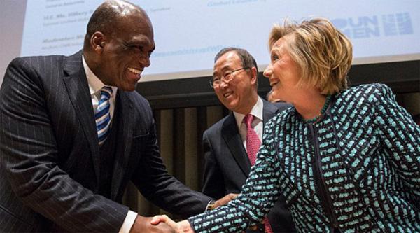 John Ashe with Hillary Clinton